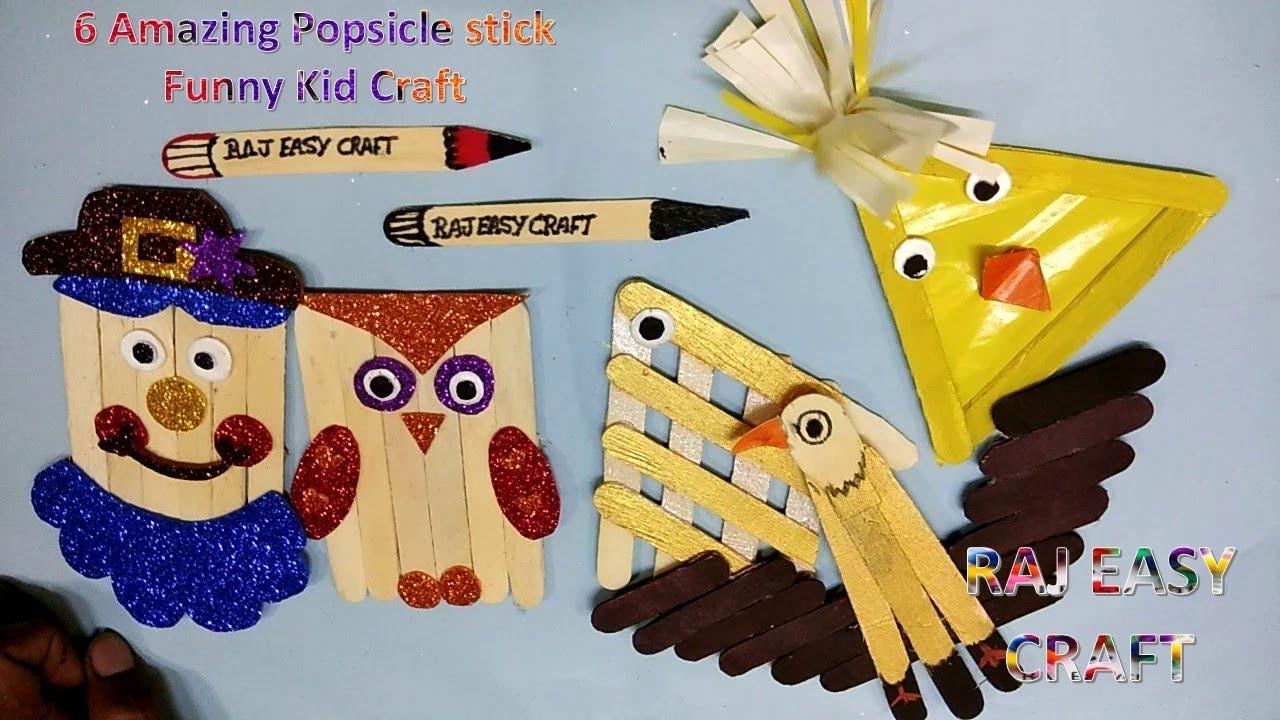 6 Amazing Popsicle Stick Funny Kid Craft Diy Ice Cream Stick