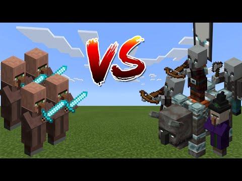 Villagers Vs Raid - Minecraft PE / Bedrock