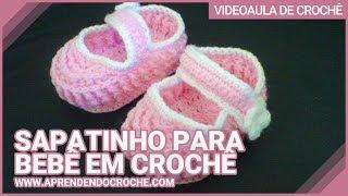 Repeat youtube video Sapatinho para Bebê em Croche Ingrid - 1º Parte - Aprendendo Crochê