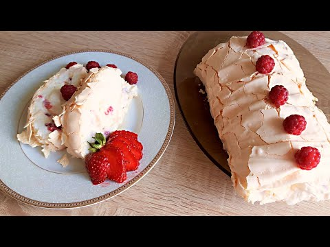 Меренговый Рулет с Ягодами и Сливочным Кремом - Десерт из Безе