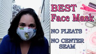 Best Face Mask Sewing Tutorial Pocket No Center Seam and No Pleats BatWing Free Pattern