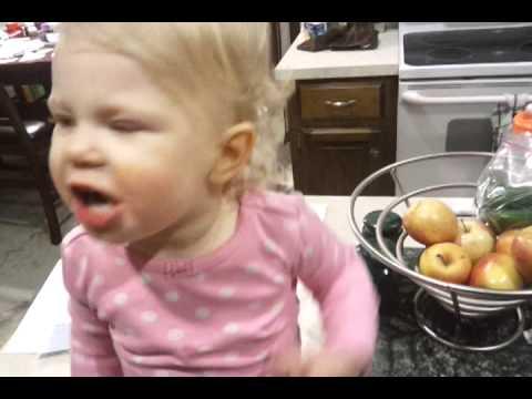Emily eating an apple
