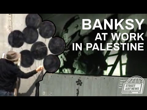 Banksy At Work On The Palestine / Israel Separation Wall