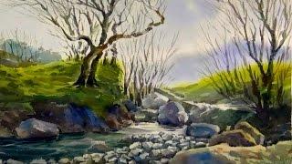 Watercolor Painting landscape streams