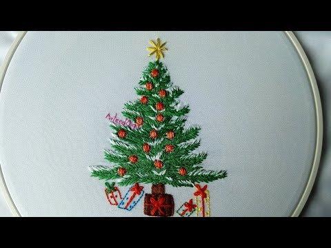 Hand Embroidery: Christmas Tree  Árbol de Navidad bordado a mano  ArtesdOlga