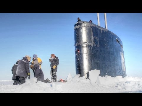 Nuclear Submarine Breaking Through Arctic Ice