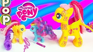 MLP POP My Little Pony Design-A-Pony Fluttershy Kit Playset Toy Unboxing Rainbow Dash Hair Mix