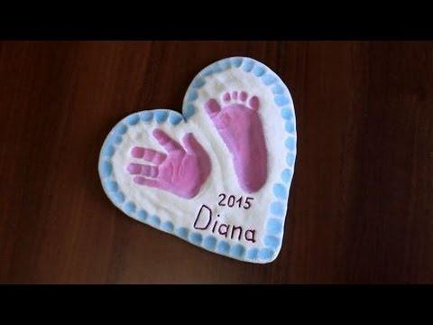 Поделки из соленого теста  Отпечаток руки и ноги ребенка  Видео Часть 2 Лепка, сушка, покраска