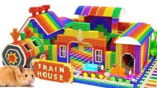 DIY - Build Fortnite Train Station House For Hamster From Magnetic Balls (Satisfying) - Magnet Balls