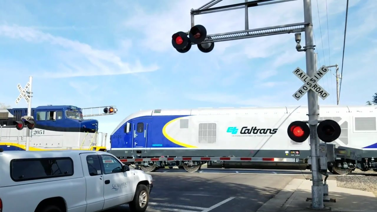 Amtrak CDTX 2052 Deliver Brand New Caltrans Charger Locomotive From Siemens  Fruitridge Road Crossing
