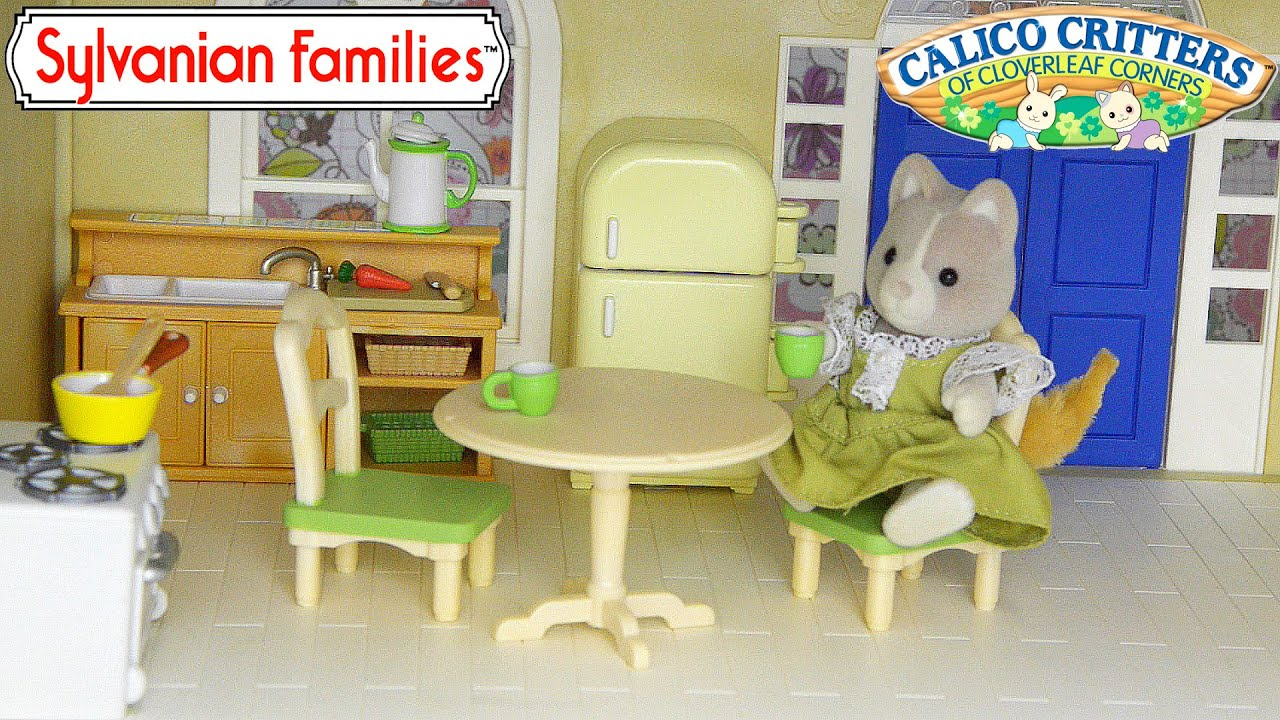 Sylvanian Families Calico Critters Kitchen Setup and adding Fridge ...