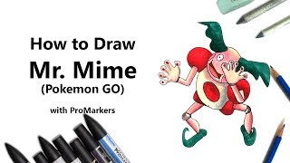 How to Draw and Color Mr. Mime from Pokemon GO with ProMarkers [Speed Drawing]