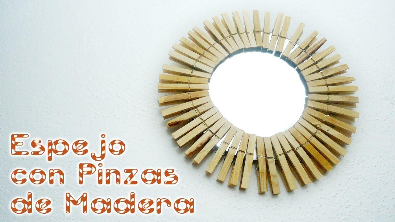 Espejo con pinzas de madera mariquistuts youtube - Marcos de fotos para colgar ...