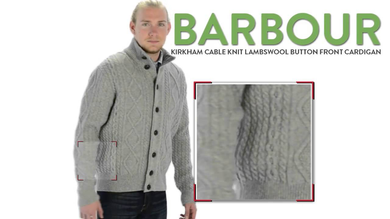 Barbour Kirkham Cable-Knit Cardigan Sweater - Lambswool (For Men ...