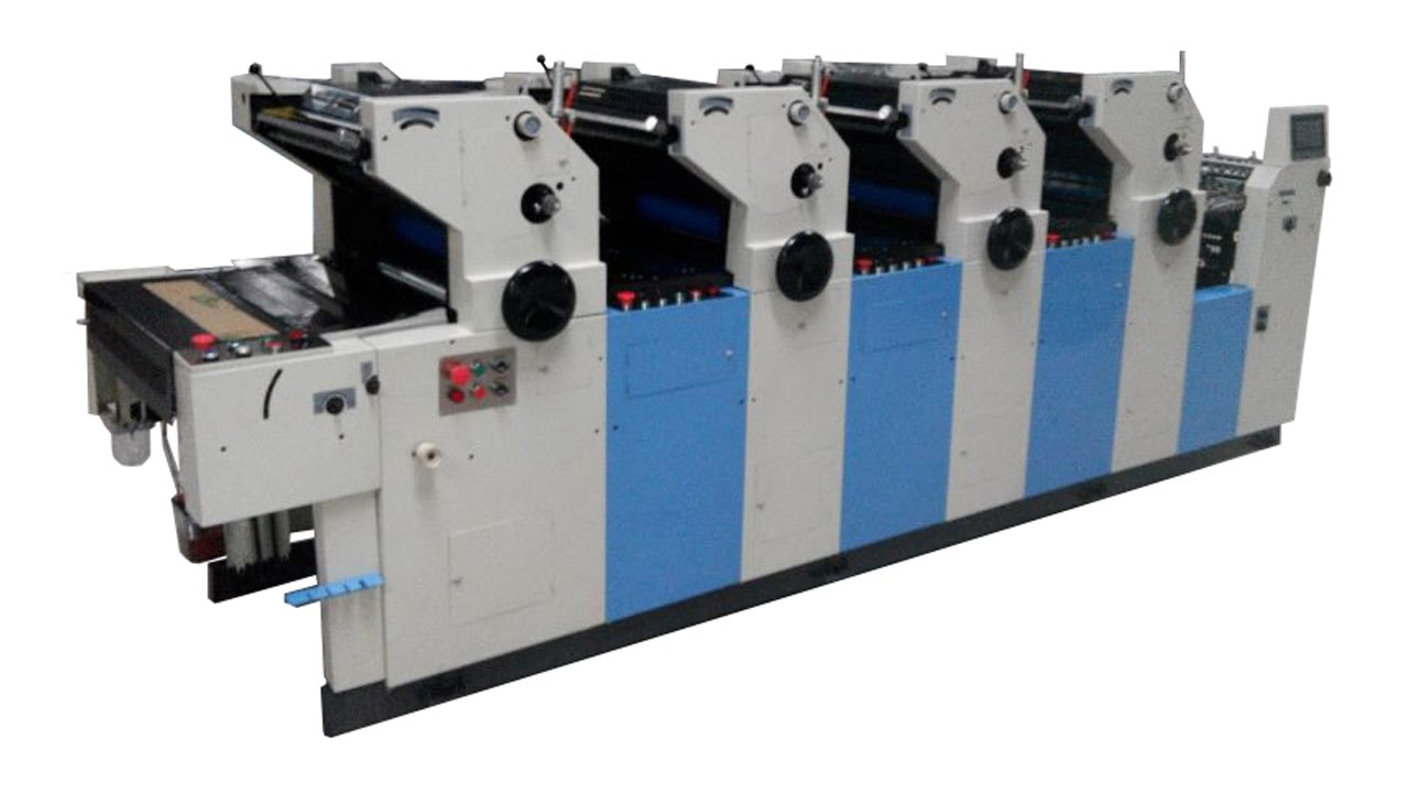 4 colour offset printing machine computer direct offset printing machine 4  color offset printer - YouTube