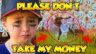 "ANGRY KID BEGS FOR ""MONEY DROP"" ON FORTNITE! (Funny Fortnite Trolling)"