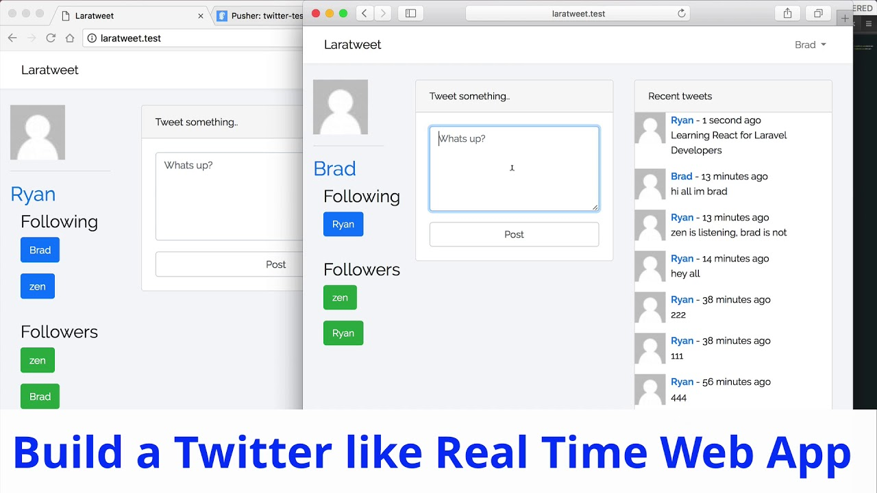 Laravel with React JS - Build Twitter like real time web app