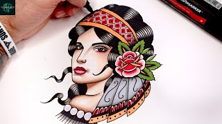 Learn how to Dŗaw a Tattoo Design of a Gypsy Girl!