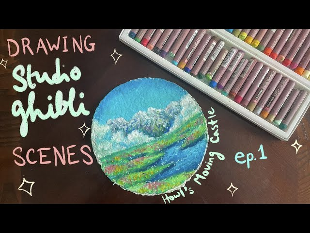 [VIDEO] drawing Studio Ghibli scenes on handmade paper with oil pastels   Howl's Moving Castle