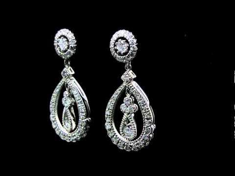 1 3/4 CTW Vintage Diamond Dangle Drop Earrings in 14K White Gold