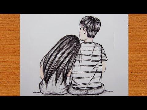 ภาพวาดแรเงาคู่รักแบบง่ายๆ   Pencil Drawing Beautiful Picture