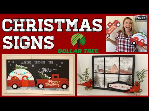 Farmhouse Christmas Signs DIY | Little Red Truck Decor | Dollar Tree DIY!