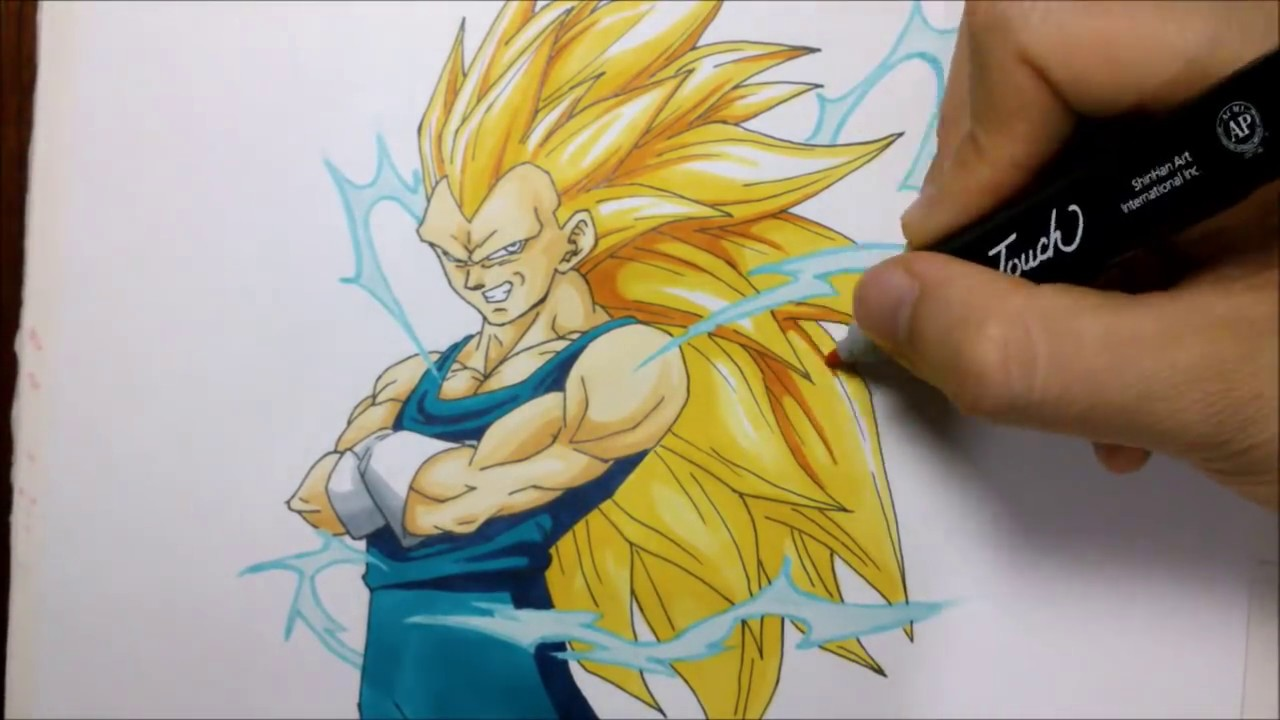 Como dibujar a VEGETA SSsj 3. How to draw SUPER SAIYAN 3 ...