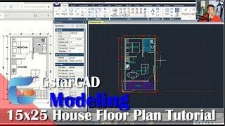 GstarCAD 15x25 House Floor Plan Tutorial For Beginner