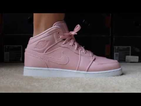 ce4dc9cc9526 Pastel Pink Air Jordan 1 Mid Girls - YouTube