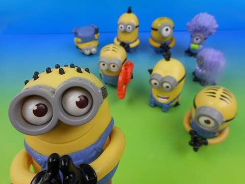 McDONALD'S MINIONS SET OF 9 DESPICABLE ME 2 KID'S MEAL MOVIE TOY'S VIDEO REVIEW