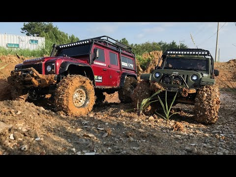 Traxxas TRX-4 LandRover Defender VS Rubicon JK - Mud Trail