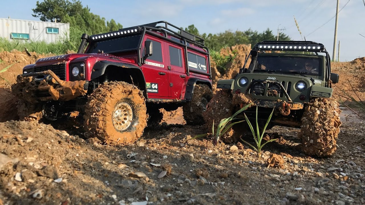 Traxxas Trx 4 Landrover Defender Vs Rubicon Jk Mud Trail