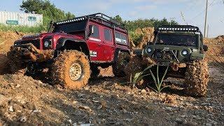 Traxxas TRX-4 LandRover Defender VS Rubicon JK - Mud Trail