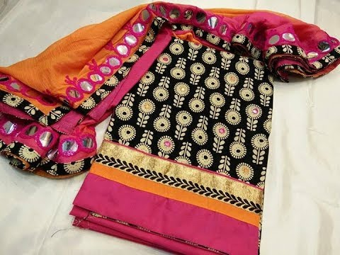 ad43de218a Rajasthani Mirror Work Churithar Materials || unstitched colourful salwar  suits
