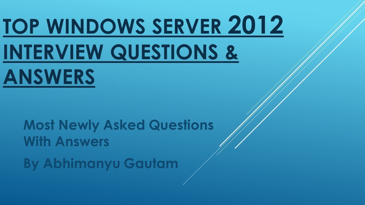 Server administrator interview questions and answers pdf