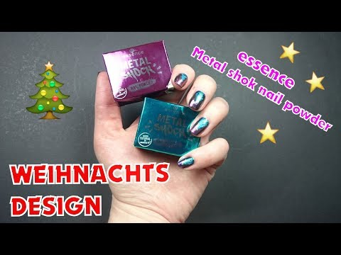 Metal shok nail powder Nageldesign | essence Weihnachtsnageldesign