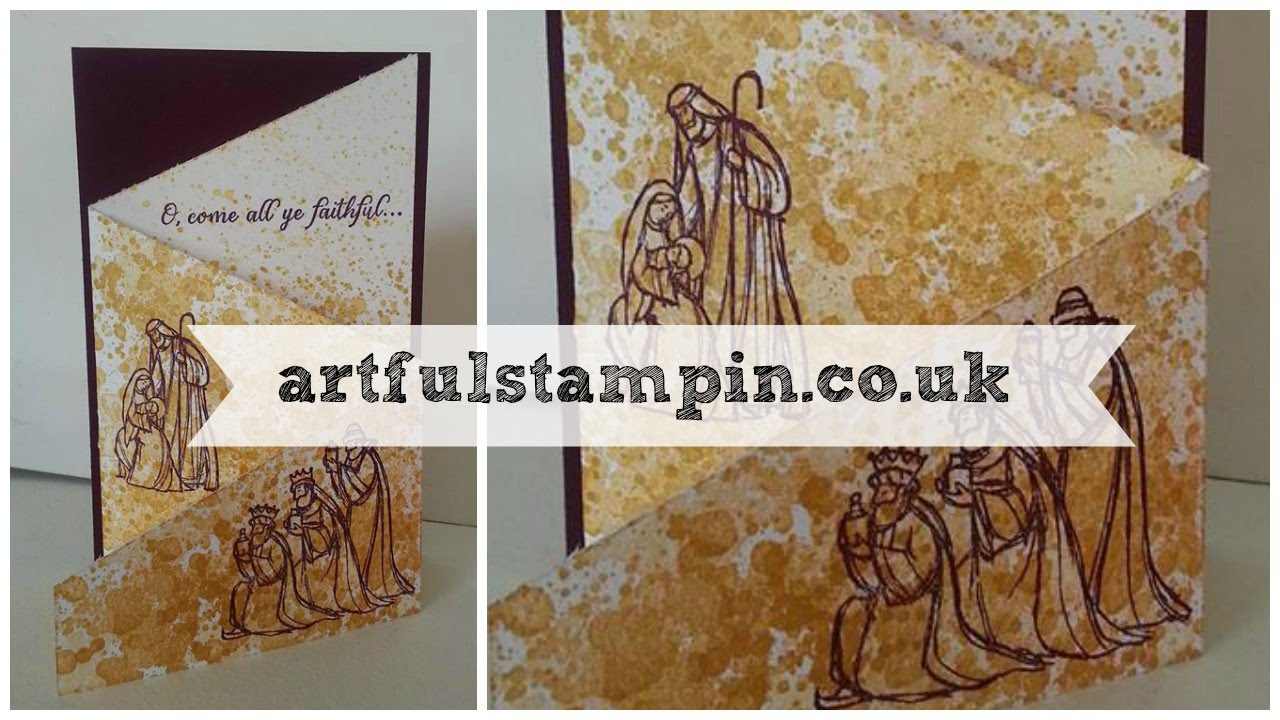 artful stampin tri fold christmas card with gorgeous grunge youtube - Tri Fold Christmas Cards
