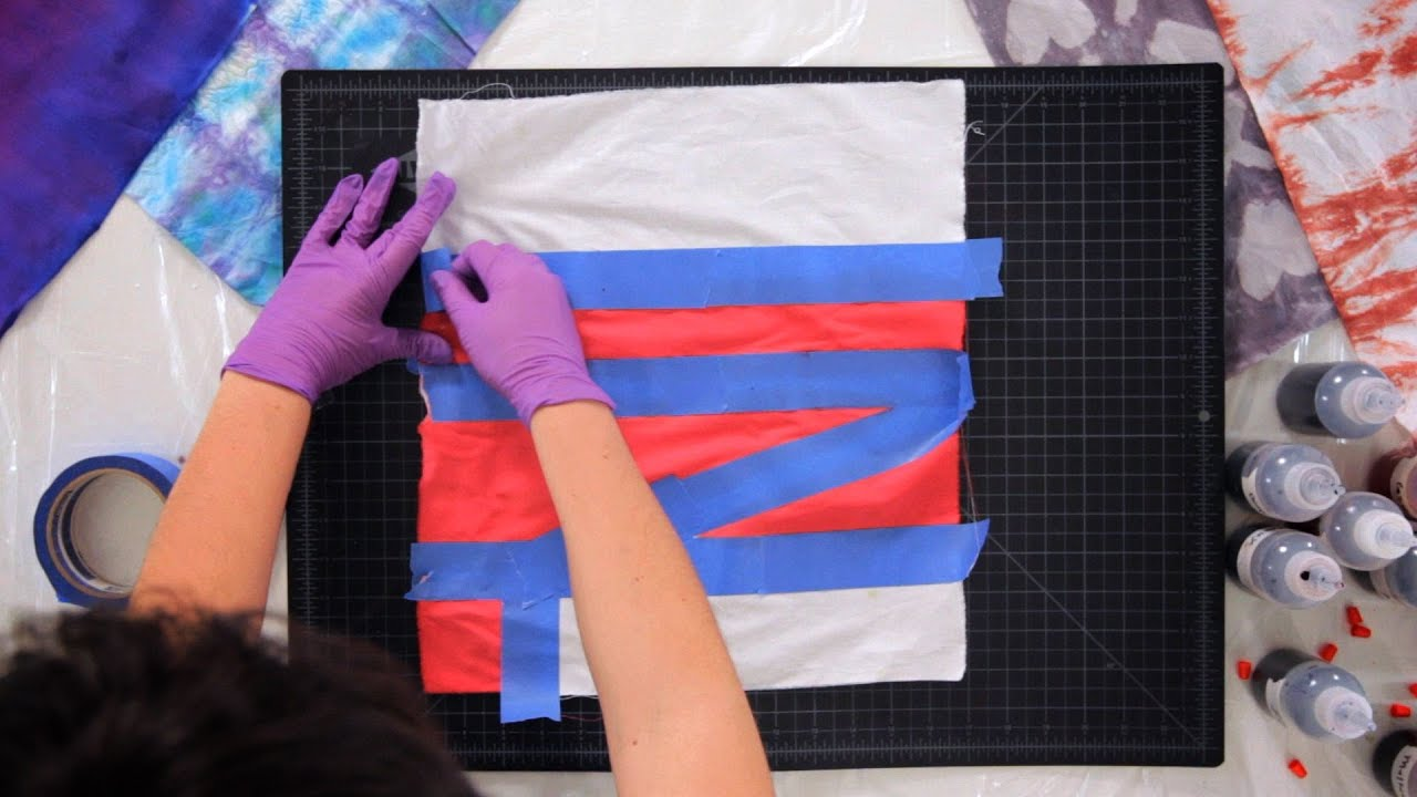 How To Create Tie Dye Patterns Using Tape Tie Dyeing