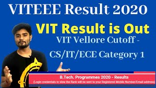 VIT 2020 Result Is Out   Category 1 CutOff  Bitsat Exam Dates