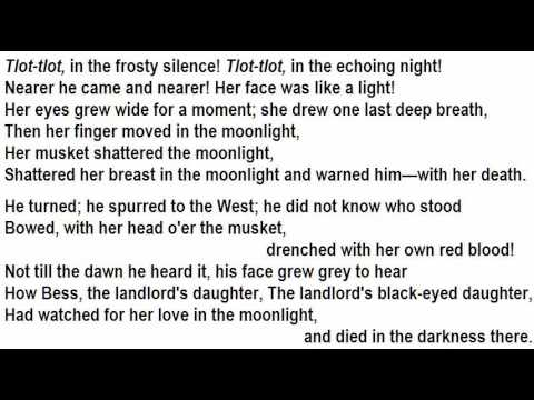 Worksheets Highwayman Poem the highwayman by alfred noyes read tom obedlam youtube youtube