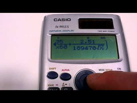 COLEBROOK-WHITE equation on a Casio fx991