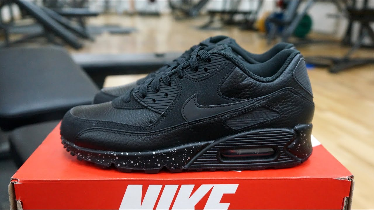 Nike for Women Air Max 90 Premium Black Metallic Silver Running Shoes 6819117