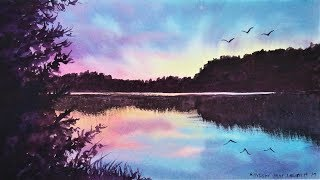 EASY Pond Sunset /using ONLY 3 Colors!   Real-Time Watercolor Tutorial