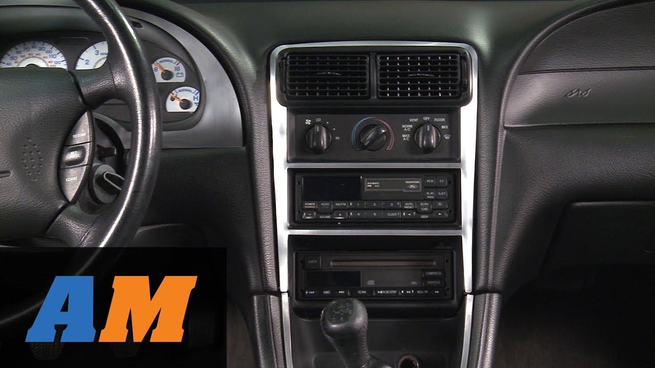 medium resolution of mustang brushed aluminum carbon fiber dash overlay kit 94 04 all youtube