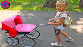 Утро с Куклой Беби Бон, Прогулка в парке с Коляской, Играем на Детской Площадке Видео для детей