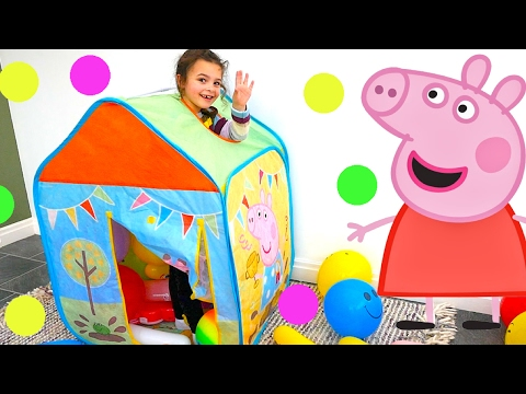 Peppa Pig Toy Tent with Peppa Pig Toys, Toy Baby, Peppa Pig Play Doh and Balloons