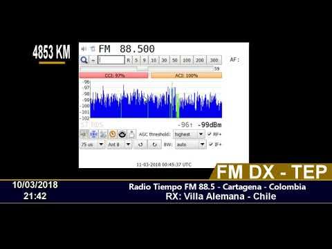 FM DX - TEP - Radio Tiempo 88.5 - Cartagena - Colombia - En Chile