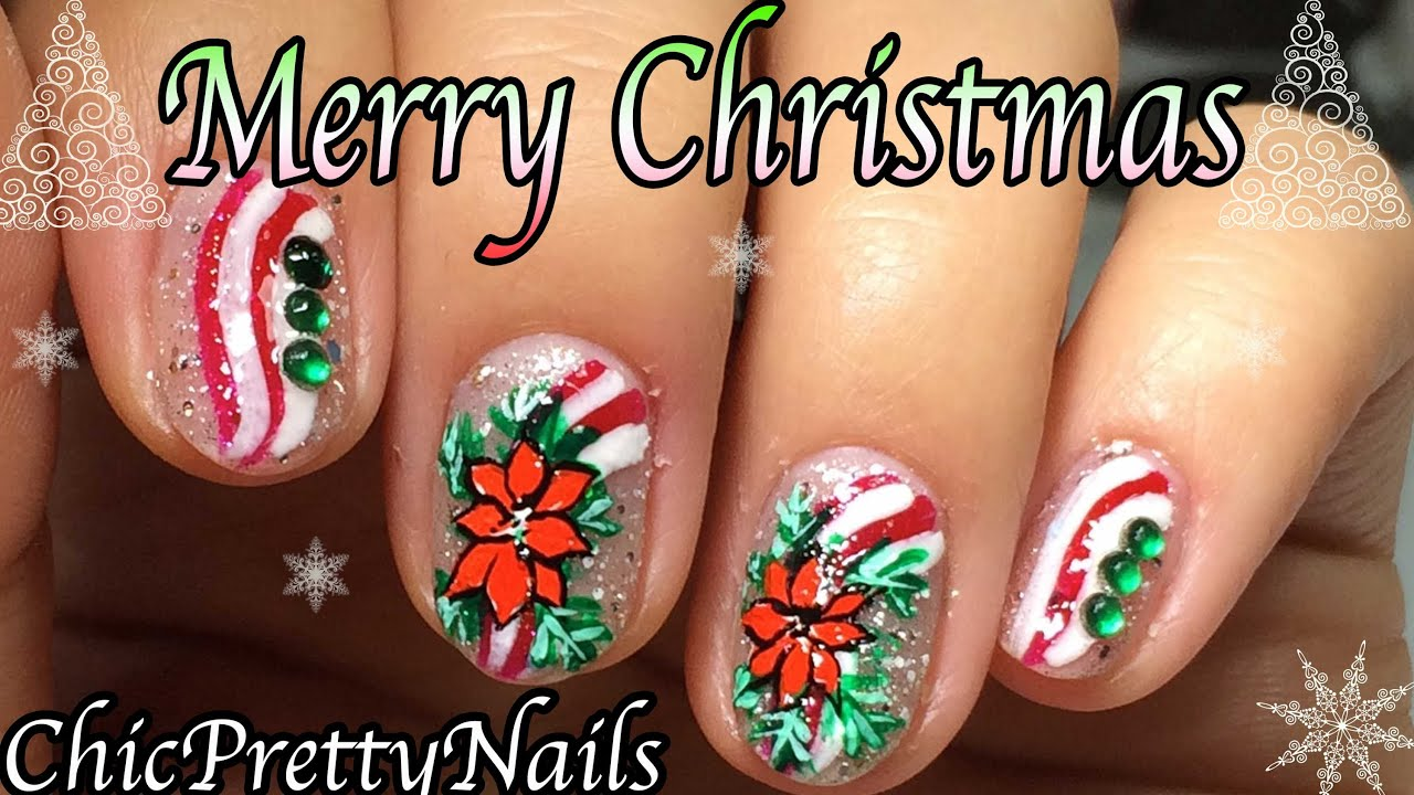 Christmas Nail Artpretty Poinsettia Flower Youtube