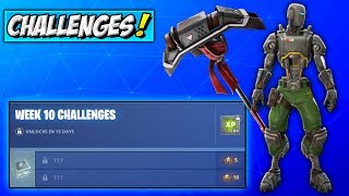 How To Get GREEN A.I.M & Hunting Party PICKAXE! Fortnite Week 10 Challenges REWARDS (A.X.E & Skin)