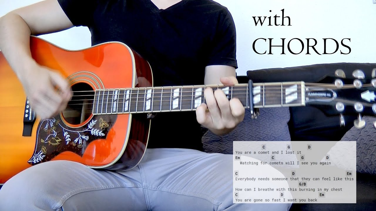 Skillet - Watching for Comets Guitar Cover w/Chords on screen